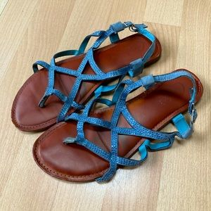 Sparkly Blue Strappy Sandals